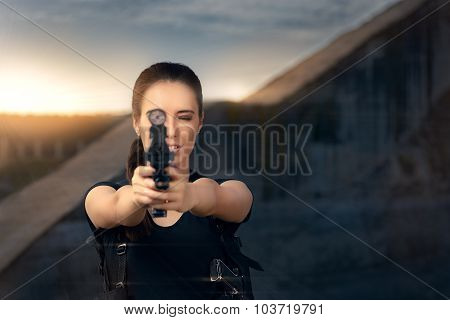 Powerful Woman Aiming Gun Action Movie Style