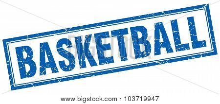 Basketball Blue Square Grunge Stamp On White