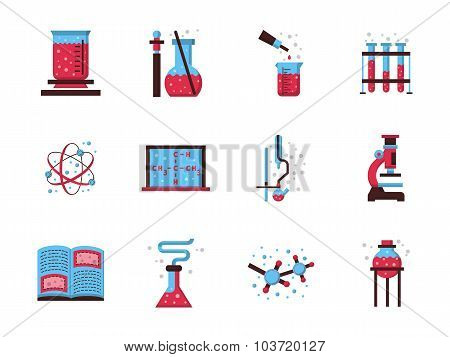 Flat style chemistry colored vector icons