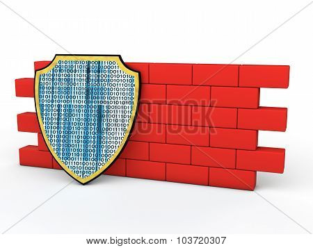 3d shield and red wall
