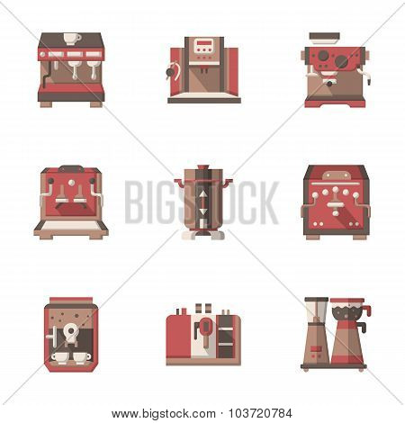 Flat style coffee making equipment vector icons