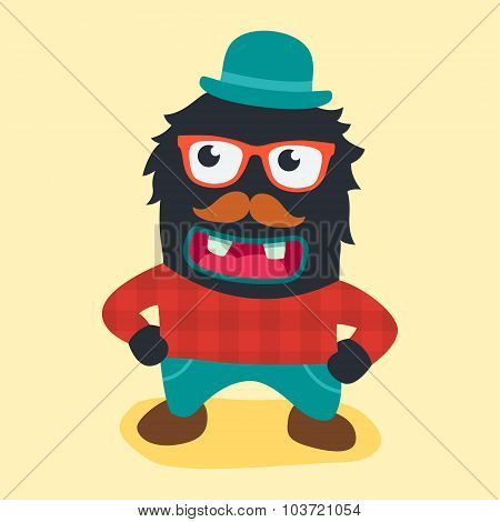 hipster monster. vector illustration