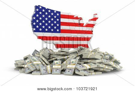 Map of USA with dollars