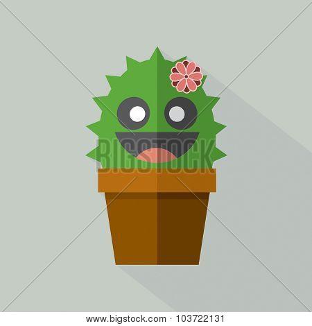 Cute Cactus Pot Vector Illustration.