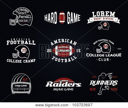 Set of American football, college league labels, logos, badges, insignias, icons in vintage style. G