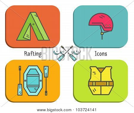 Rafting equipment flat icon, button collection.  Outdoors style, bright color design. Stylish elemen