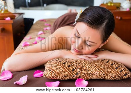 Chinese Woman having wellness massage