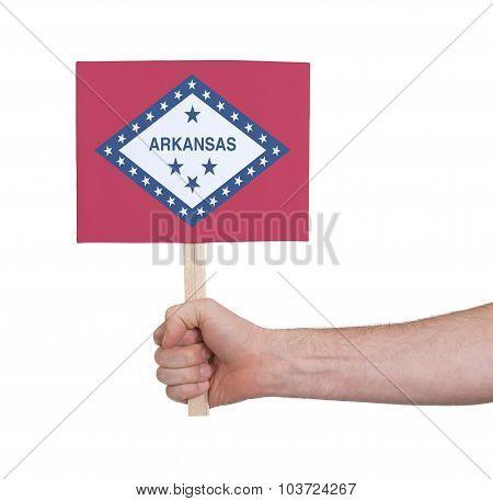 Hand Holding Small Card - Flag Of Arkansas