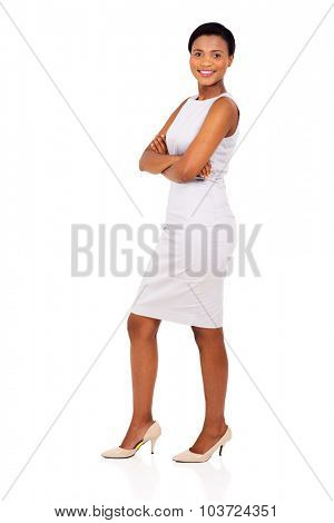 side view of african american woman with arms crossed isolated on white