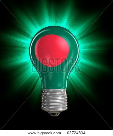 Light bulb with Flag of Bangladesh (clipping path included)