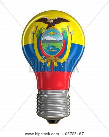 Light bulb with Ecuadorian flag (clipping path included)