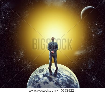 Businessman on the planet