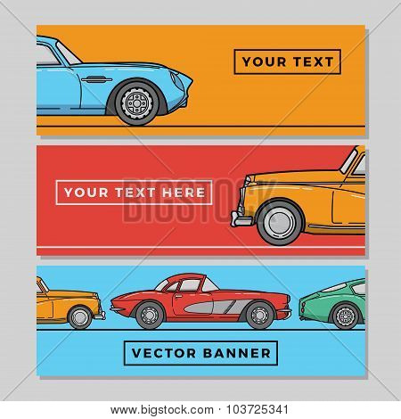 Vector Set Of Horizontal Web Banners With Retro Cars