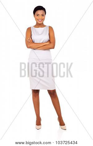full length portrait of young afro american businesswoman