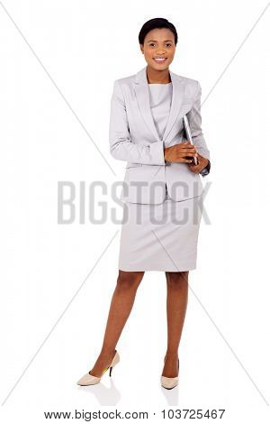 pretty afro american businesswoman holding laptop computer isolated on white background