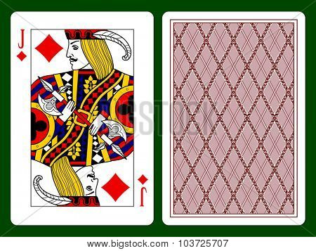 Playing card with a Jack of diamonds and backside background. Vector illustration