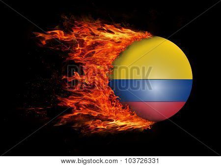 Flag With A Trail Of Fire - Colombia