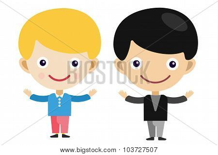 Blonde boy cartoon vector boys in different costumes