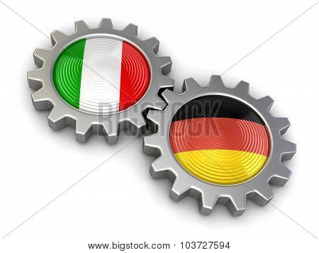 Italian and German flags on a gears (clipping path included)