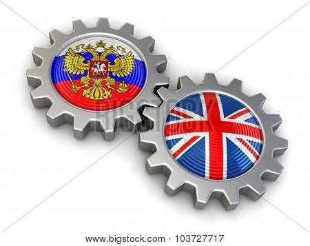 Russian and UK flags on a gears (clipping path included)