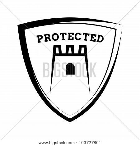 Shield Icon - Account Protected, Black And White Template
