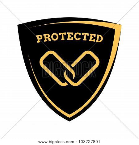 Shield Icon - Links Protected, Black And Yellow Template