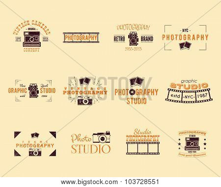 Vintage Textured Photography Badges, Labels. 2 Retro Colors design with stylish classic cameras and