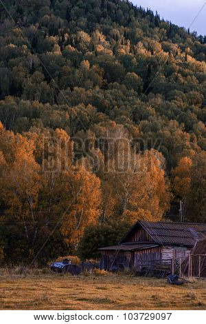 Autumn at mountain village at evening