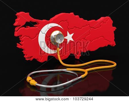 Map of Turkey with Stethoscope (clipping path included)