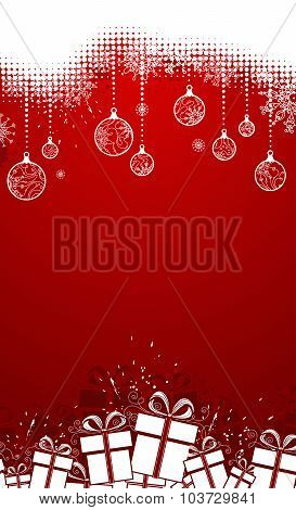 Red Vertical Christmas Background.