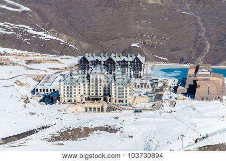 Shahdag - FEBRUARY 27, 2015: Tourist Hotels  on February 27 in Azerbaijan, Shahdag. Shahdag has become a popular tourist destination for skiing in Azerbaijan.