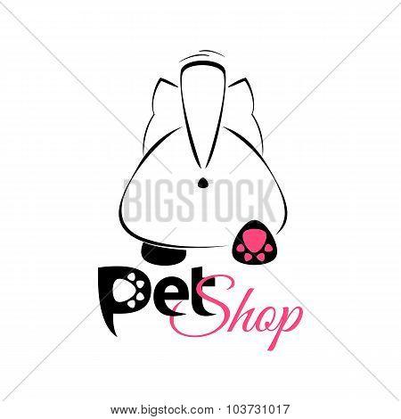 Pet Shop Emblem, Banner - Cute Cartoon Cat