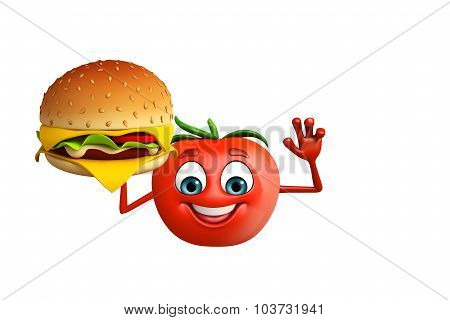 Cartoon Character Of  Tomato Fruit With Burger