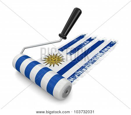 Paint roller with Uruguayan flag (clipping path included)