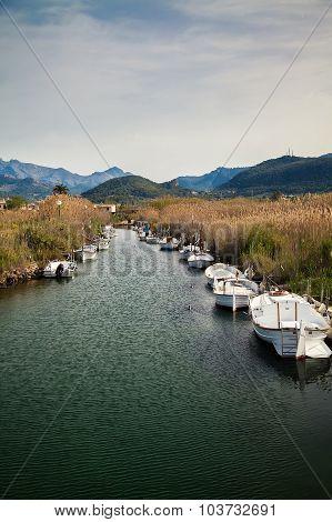 Boats On The River Torrent D'en Salvel In Port D'andratx