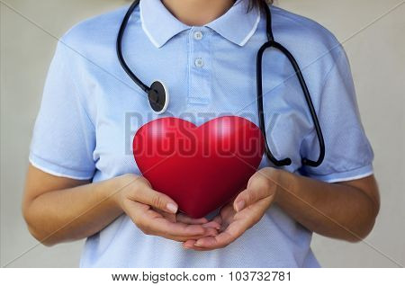 Doctor with stethoscope holding a red heart in the hands closeup
