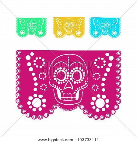 colored sticker paper in traditional Mexican style and patterns for backgrounds skulls, celebrations