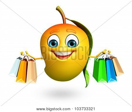 Cartoon Character Of Mango With Shopptng Bag