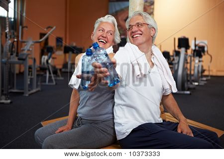 Happy Senior People With Water