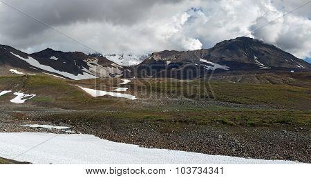 Panoramic View Of Active Mutnovsky Volcano. Kamchatka Peninsula