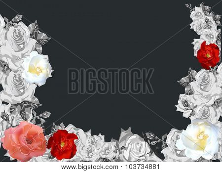 illustration with red roses  in grey flower frame