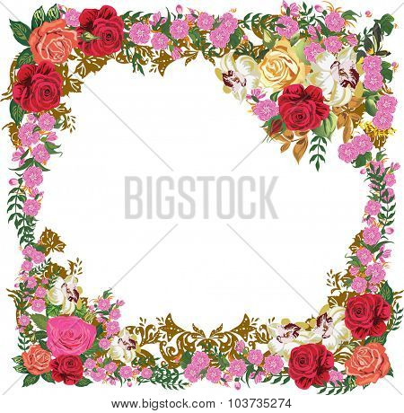 illustration with pink flowers frame isolated on white background