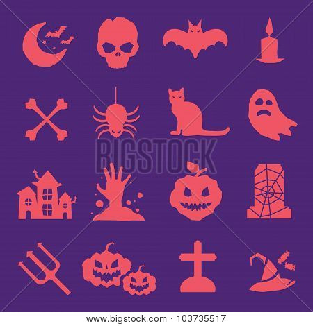 Halloween vector icons set