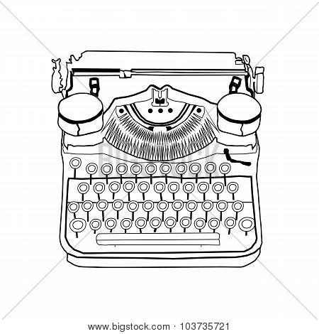 Hand Drawn Vector Typewriter