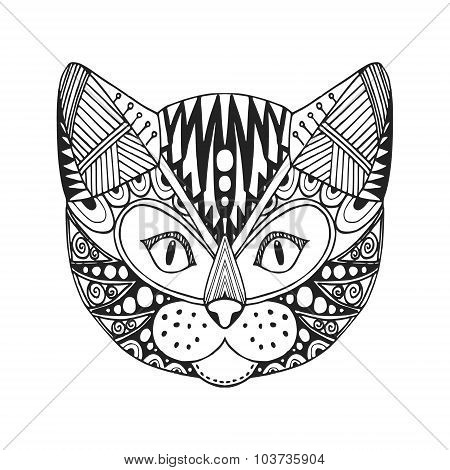 Ornamental Head Of Cat, Trendy Ethnic Zentangle Design, Hand Drawn, Vector
