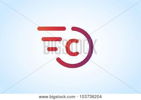 Fast line vector letter C logo monogram