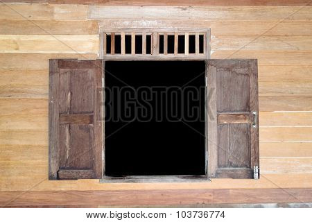 Open wood window and wood wall  - thai House style