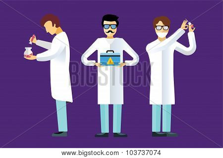 Science laboratory vector people set
