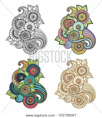 Ethnic floral zentangle, doodle background pattern circle in vector. Henna paisley mehndi doodles de