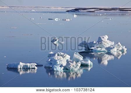 Icebergs on still water